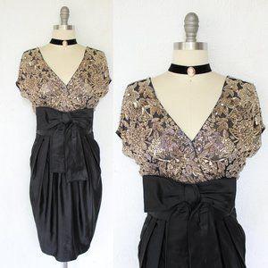 Naeem Khan Beaded jeweled silk wiggle black dress